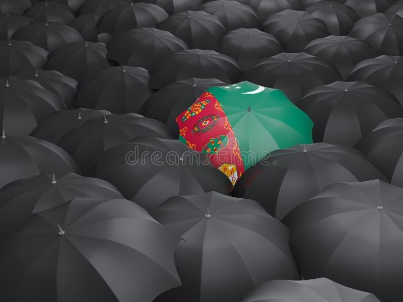 Paraply med flaggan av turkmenistan royaltyfri illustrationer