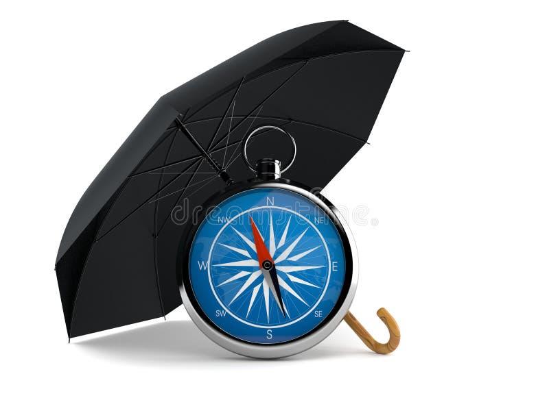 Paraply med kompasset royaltyfri illustrationer