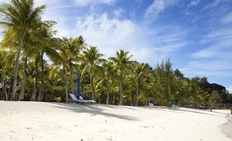 Paraply- och chaisevardagsrum på stranden royaltyfria foton