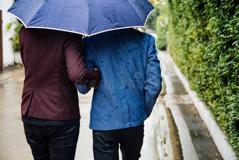 Paraply och händer för glade par hållande tillsammans Dra tillbaka av homosexuella män som går i regnet royaltyfria foton