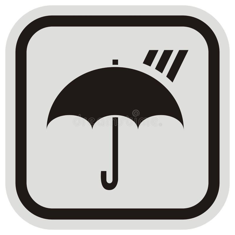 Paraply och regn, vektorsymbol på den gråa och svarta ramen vektor illustrationer