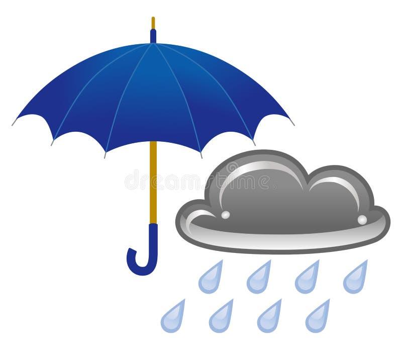 Paraply och regnigt moln stock illustrationer