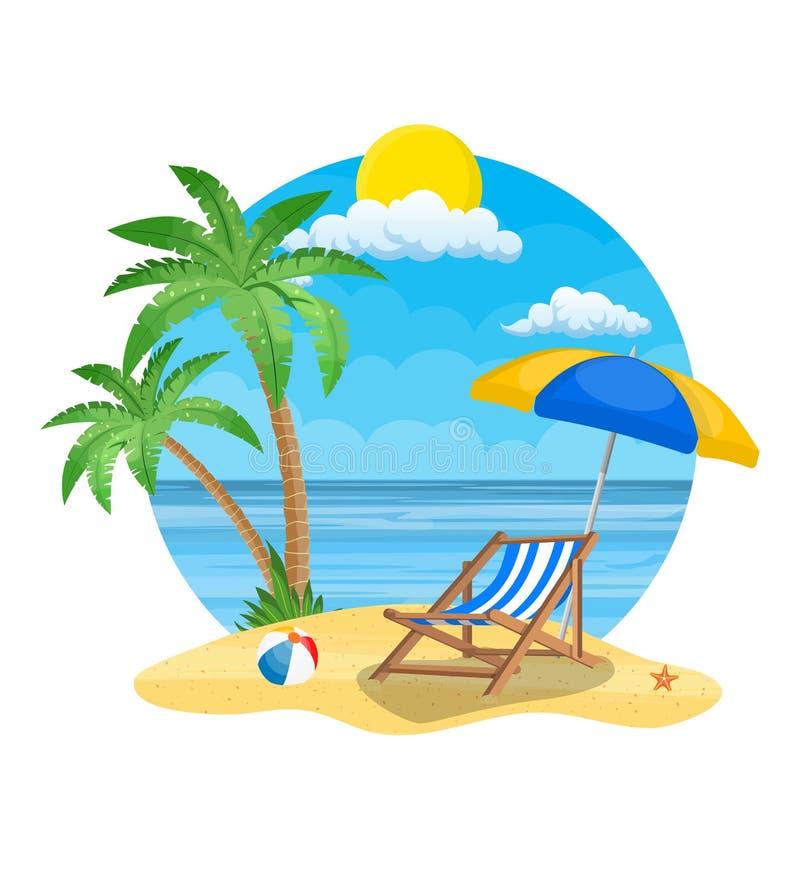 Paraply- och soldagdrivare på stranden royaltyfri illustrationer