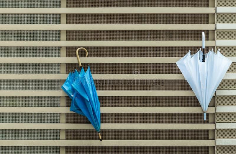 Paraply på fasad för trälodlinje- och horisontbyggnad royaltyfria bilder