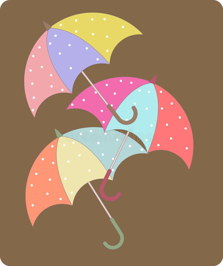 paraply tre royaltyfri illustrationer