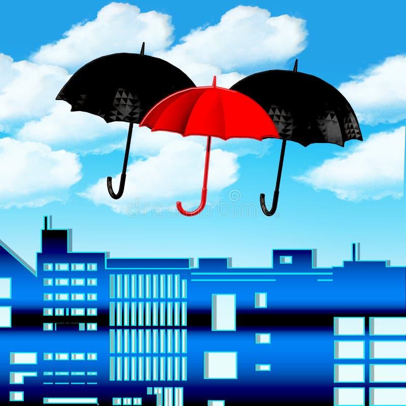 Paraplyer i himlen vektor illustrationer