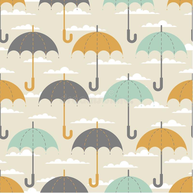 Paraplyer i molnen vektor illustrationer