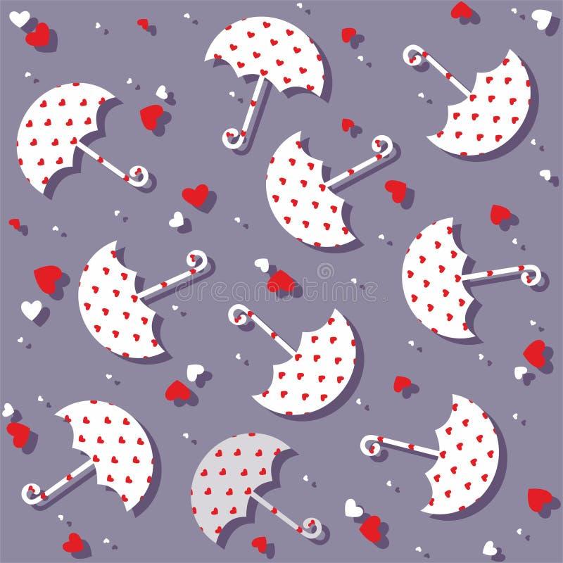 Paraplyer och sömlös modell för hjärtor - vektor vektor illustrationer