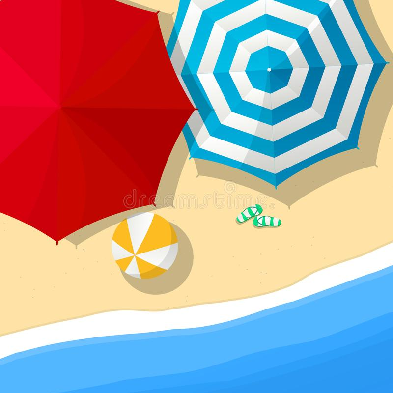 Paraplyer på stranden stock illustrationer