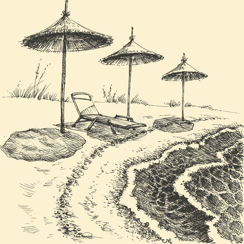 Paraplyer p? stranden vid havet royaltyfri illustrationer