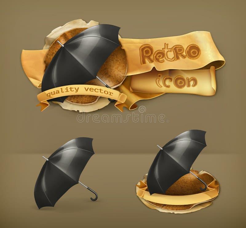 Paraplyer vektorsymboler royaltyfri illustrationer