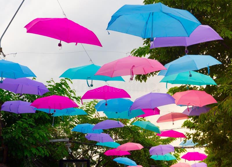 Paraplyet för för för sexhörningsformblått som, rosa färger och lilor hänger längs vägen för offentligt, parkerar garnering royaltyfri bild