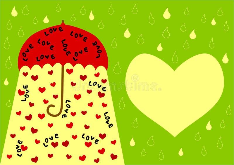 Paraplyet med förälskelse uttrycker och kortet för hjärtavalentindag vektor illustrationer