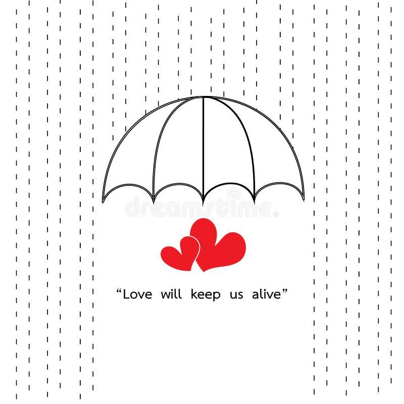 Paraplyet skyddar regnigt med två hjärtacitationstecken stock illustrationer