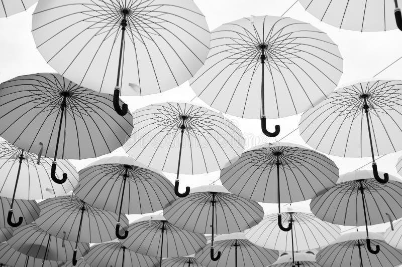 Paraplyflöte i himmel på solig dag Installation för paraplyhimmelprojekt Utomhus- konstdesign och dekor Ferie och royaltyfria foton