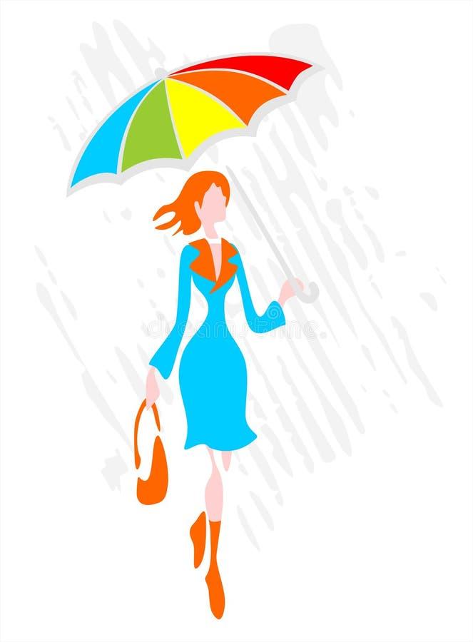 paraplykvinna stock illustrationer