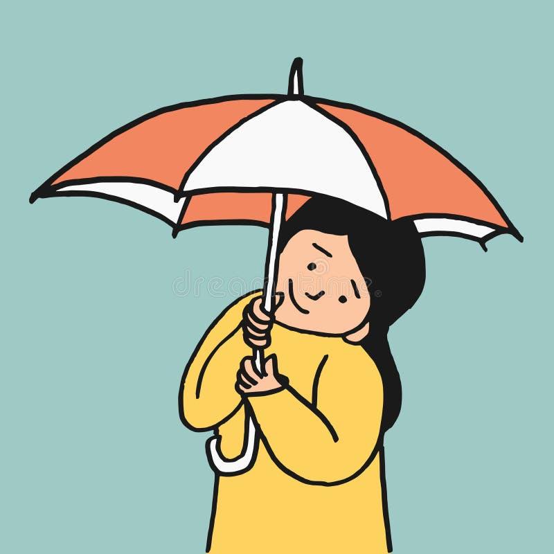 Paraplyliten flicka royaltyfri illustrationer