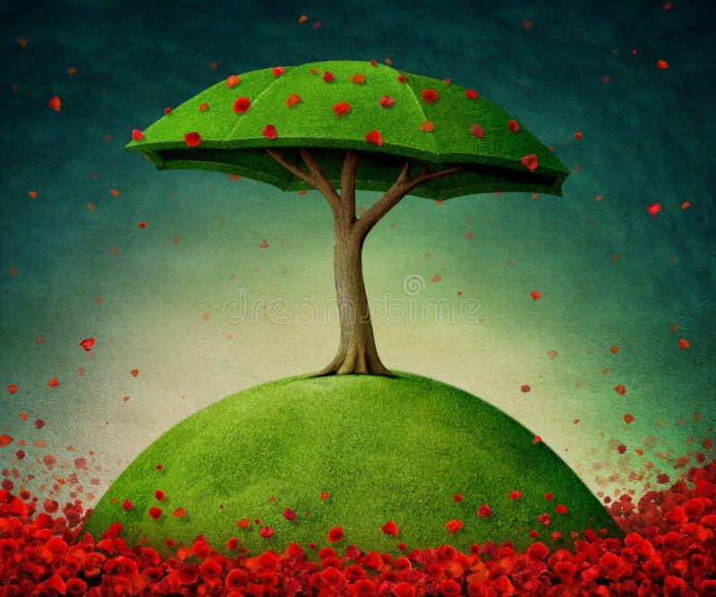 Paraplyträd stock illustrationer