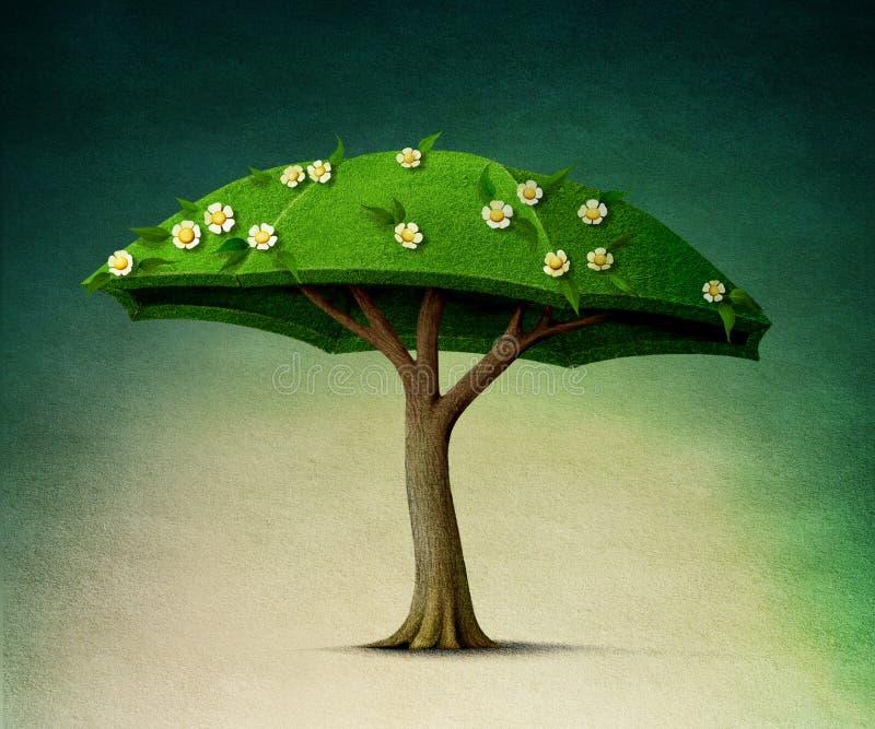 Paraplyträd royaltyfri illustrationer