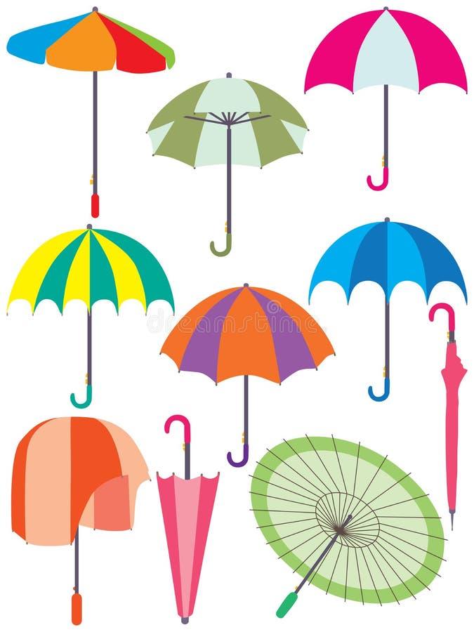 Paraplyuppsättning vektor illustrationer
