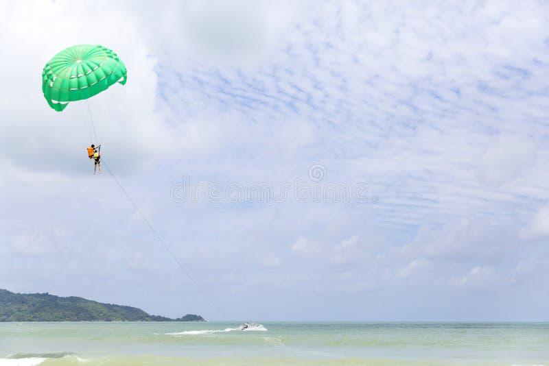 Parasail on Patong beach in Phuket, Thailand royalty free stock photo