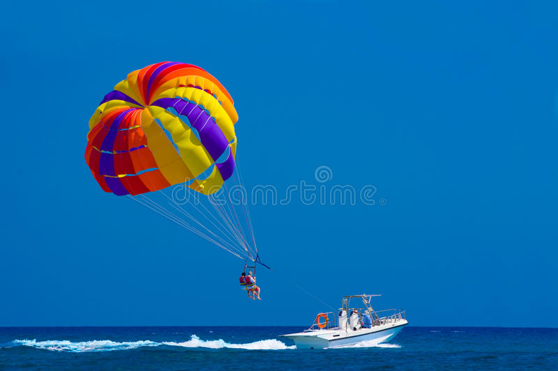 Parasailing. Off the coast in Kolymbia, Rhodes, Greece