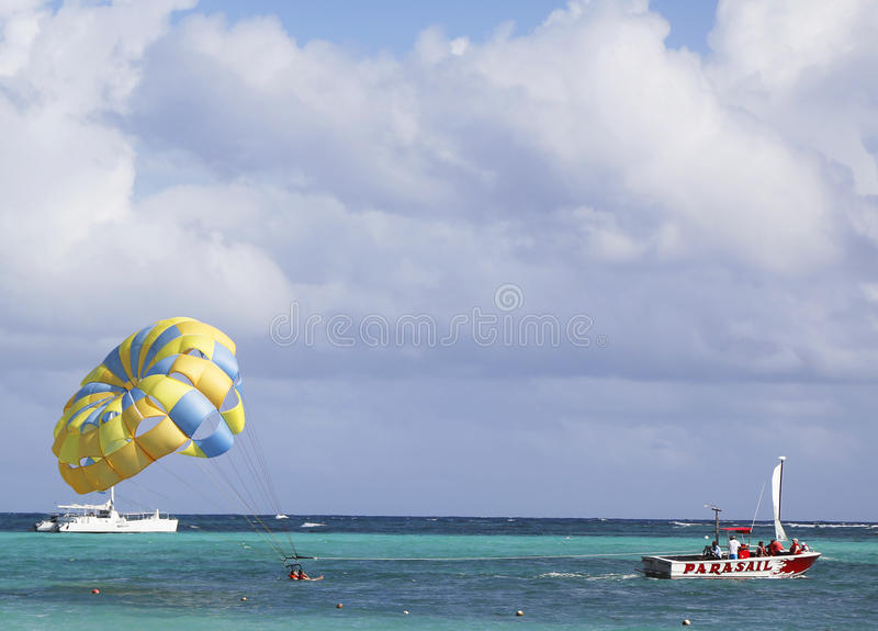 Download Parasailing In A Blue Sky In Punta Cana, Dominican Republic Editorial Stock Photo - Image of recreation, boat: 37920018