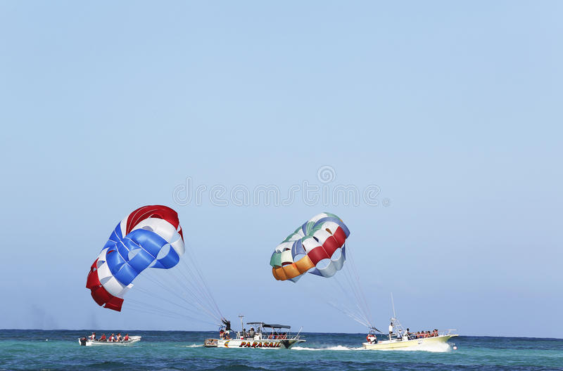 Parasailing In A Blue Sky In Punta Cana, Dominican Republic Editorial Stock Photo