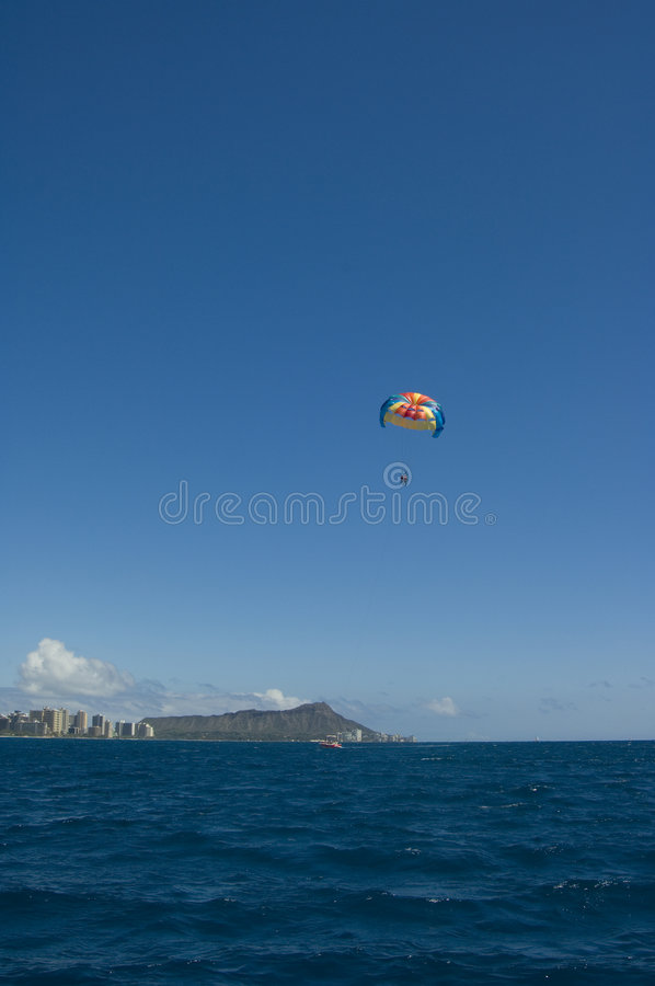 Parasailing Havaí foto de stock royalty free
