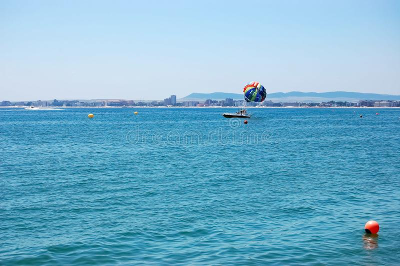 Parasailing off the coast of the Bulgarian resort stock photo