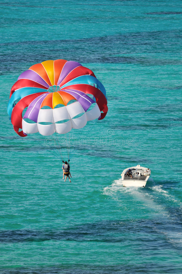 Parasailing over the Caribbean ocean royalty free stock photos