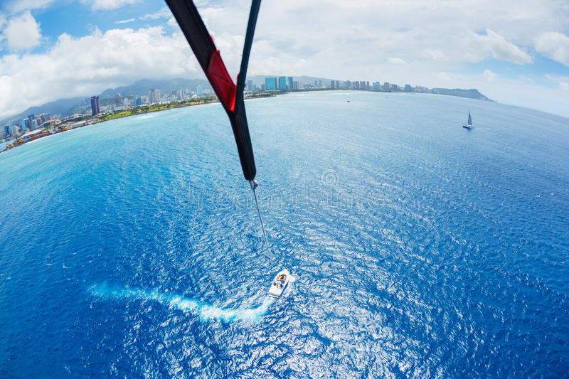 Parasailing Over Ocean In Hawaii Royalty Free Stock Photography