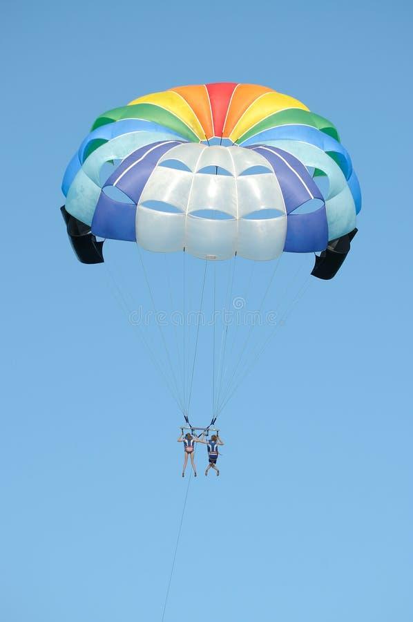 Parasailing - rainbow colors. Parasailing in rainbow colors - Sozopol, Bulgaria royalty free stock images