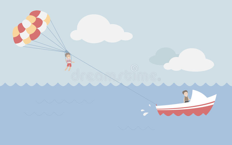 Parasailing in summer royalty free stock image