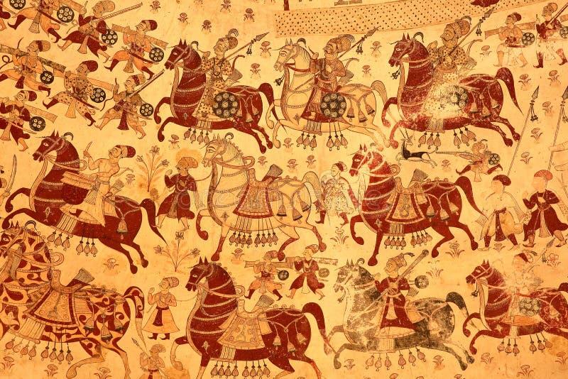 PARASARAMPURA, RAJASTHAN, INDIA - DECEMBER 27, 2017: Ancient frescoes at Sardul Singh Cenotaph. Ancient frescoes at Sardul Singh Cenotaph royalty free stock image