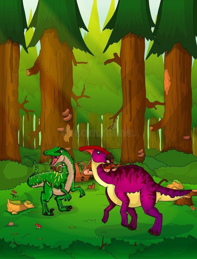 Parasaurolophus στο υπόβαθρο ενός δάσους απεικόνιση αποθεμάτων