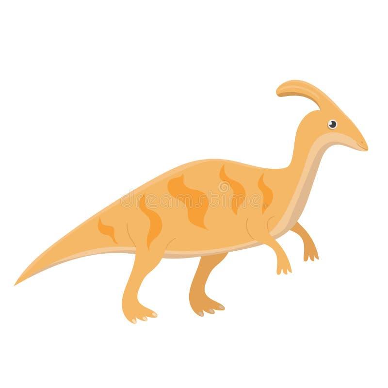 Parasaurolophus dinosaurie Vektorillustration som isoleras p? vit bakgrund vektor illustrationer
