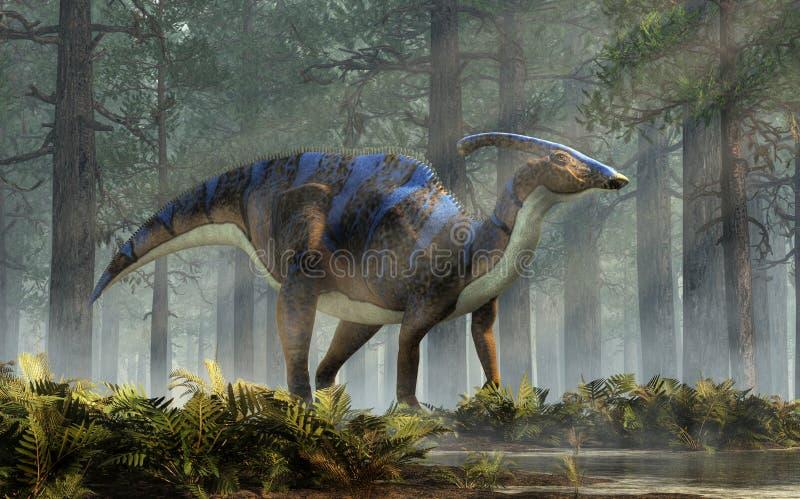 Parasaurolophus in einem Wald vektor abbildung