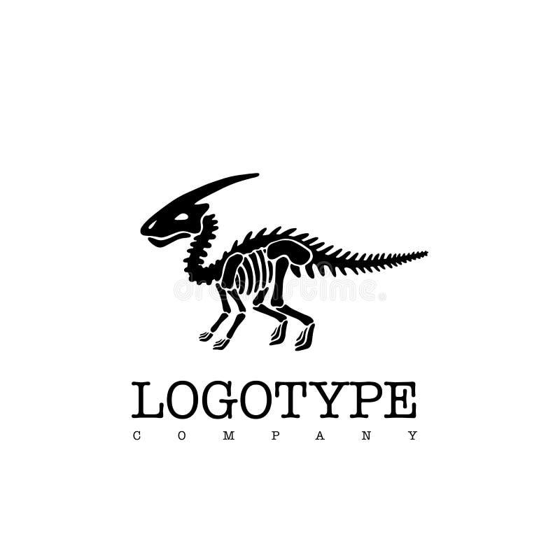 Parasaurolophus esquelético del dinosaurio del logotipo del vector aislado en el fondo blanco ilustración del vector