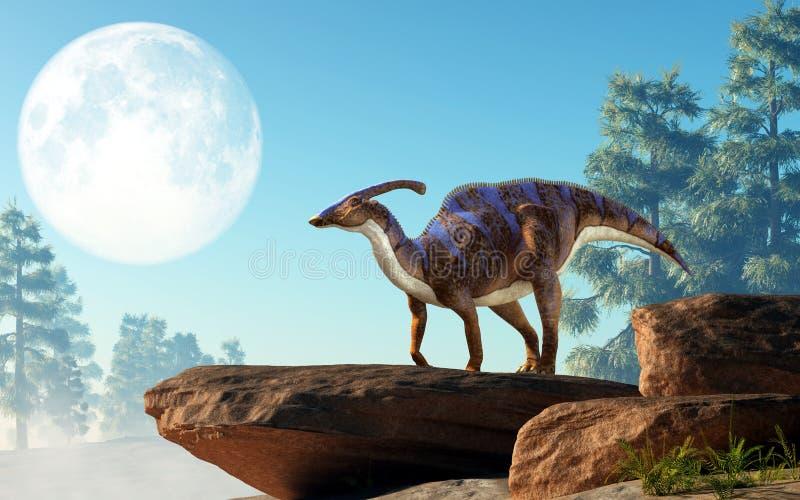 Parasaurolophus na skale Pod księżyc ilustracja wektor