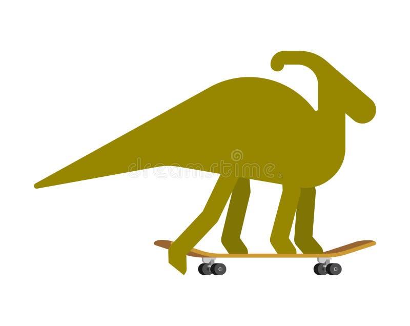 Parasaurolophus no skate Dino Skateboarder Longboard pré-histórico da equitação do monstro do lagarto ilustração royalty free