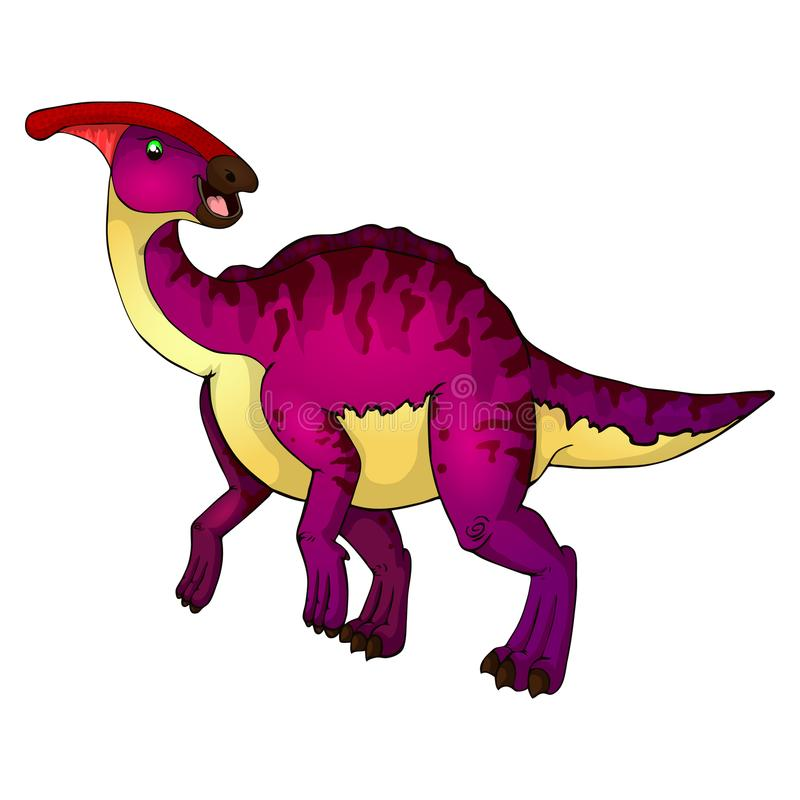 Parasaurolophus sveglio del fumetto Illustrazione isolata di un dinosauro del fumetto royalty illustrazione gratis