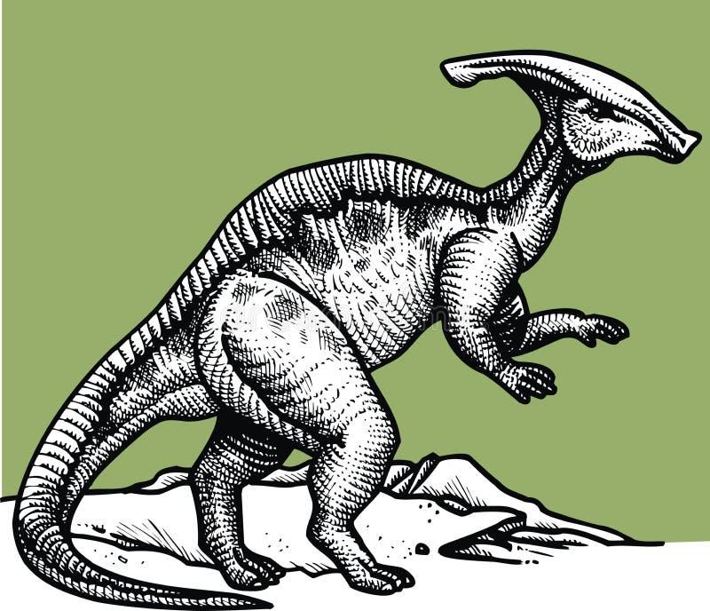 Parasaurus - prehistoryczny dinosaur ilustracja wektor