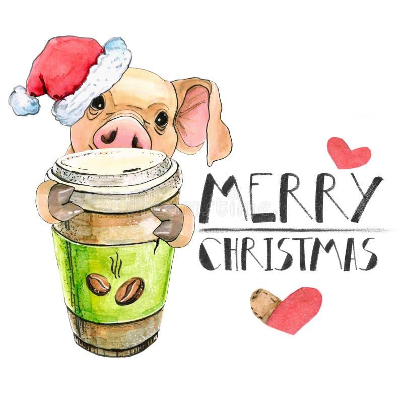 Parasenok lindo en un sombrero de Santa Claus Christmas con una taza de café Tarjeta de felicitación Aislado Feliz Año Nuevo libre illustration