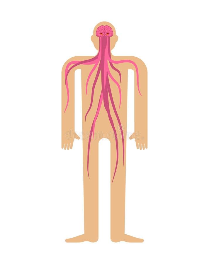 Parasite en esprit humain Cerveaux avec des tentacules dans la tête Monstre à l'intérieur de corps illustration libre de droits