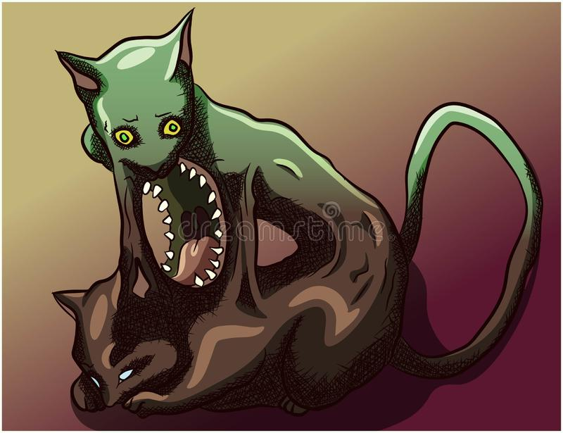 Parasite horror creature leaving the dead body of a cat. Green horror kitty resurrection, evolving, natural circle of the soul. Leaving the body. Feline zombie stock illustration