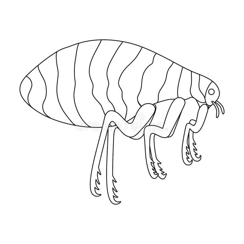 Parasitera den enkla symbolen för loppan i översikt utforma för design Rengöringsduk för illustration för materiel för symbol för royaltyfri illustrationer