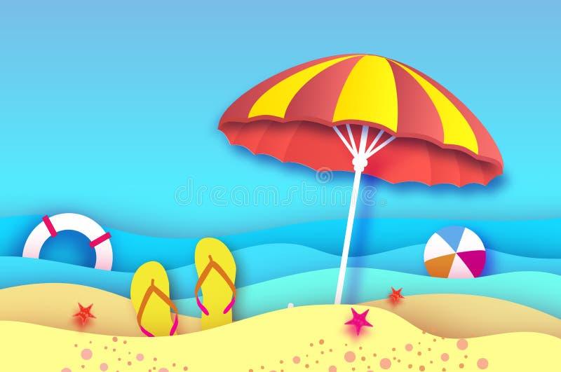 Parasol amarillo rojo - el paraguas en papel cortó estilo Mar y playa de la papiroflexia con salvavidas Juego de pelota del depor stock de ilustración