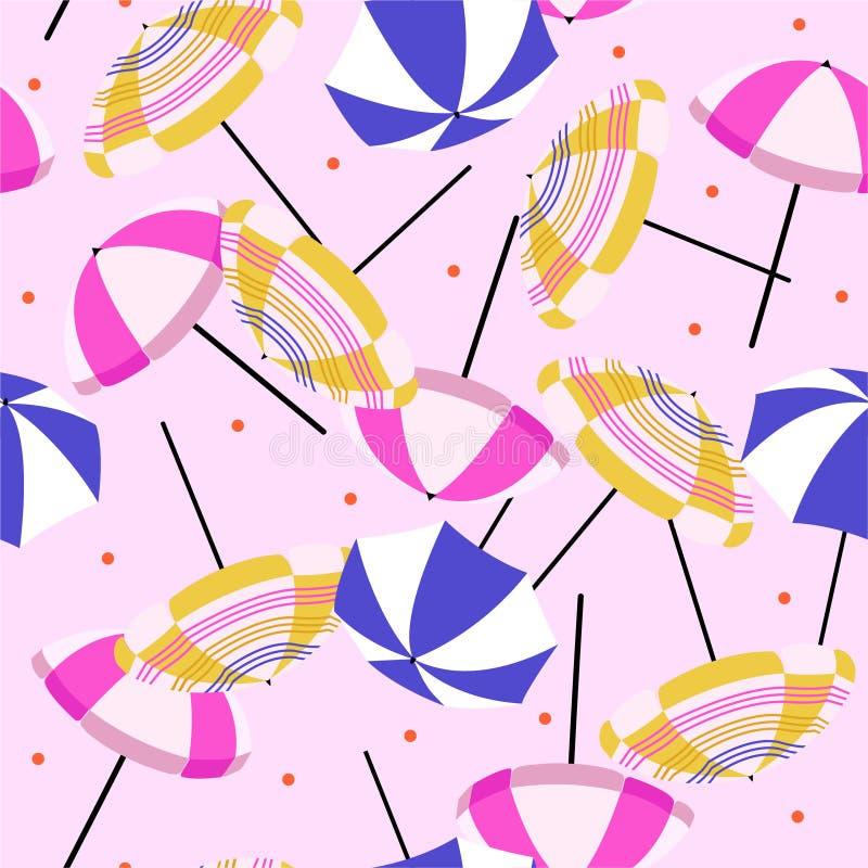 Parasol de playa colorido de moda con los lunares rojos Modelo inconsútil del vector en fondo rosa claro libre illustration