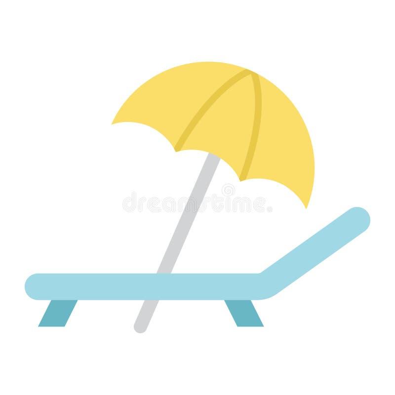 Parasol de playa con el icono plano del deckchair, viaje ilustración del vector